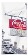 Clover Grill Coke Sign Beach Towel