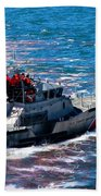 Coast Guard Out To Sea Beach Towel by Aaron Berg