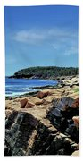 Coastline And Otter Cliff 1 Beach Towel
