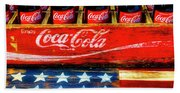 Coca Cola And Wooden American Flag Beach Towel