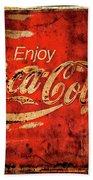 Coca Cola Square Aged Texture Black Border Beach Towel