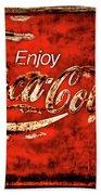 Coca Cola Square Soft Grunge Beach Towel