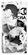 Coco Chanel Grunge Beach Towel