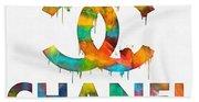 Coco Chanel Paint Splatter Color Beach Towel