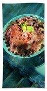 Coconut Milk Sorbet With Strawberry Sauce Vanilla Ice Cream Beach Towel
