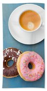 Coffee And Baked Donuts Beach Towel
