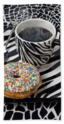 Coffee And Donut On Striped Plate Beach Towel