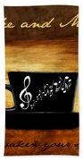 Coffee And Music Beach Towel by Lourry Legarde