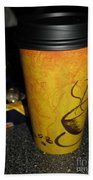 Coffee Cup Series. Yellow And Orange. Beach Towel