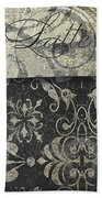 Coffee Flavors Gold And Black Beach Towel