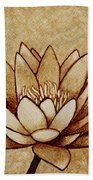 Coffee Painting Water Lilly Blooming Beach Towel