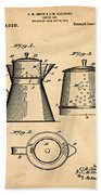 Coffee Pot Patent 1916 Sepia Beach Towel