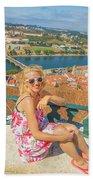 Coimbra Cityscape Woman Beach Towel