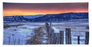 Cold Country Sunrise Beach Towel