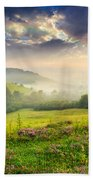 Cold Fog In Mountains On Forest At Sunset Beach Towel
