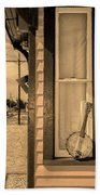 Cold Point Village Station - Banjo Mandolin In Sepia Beach Towel