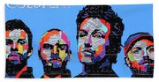 Coldplay Band Portrait Recycled License Plates Art On Blue Wood Beach Towel