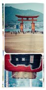 Collage Of Japan Images Beach Towel