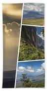 Collage Of Table Mountain Roraima  Beach Towel