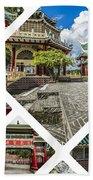 Collage Of Taoist Temple In Cebu, Philippines. Beach Towel
