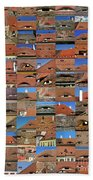 Collage Roof And Windows - The City S Eyes Beach Towel