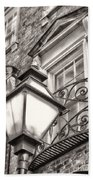 Colonial Lamp And Window Bw Beach Towel