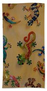 Color Lizards On The Wall Beach Towel