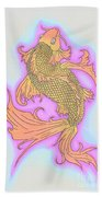 Color Sketch Koi Fish Beach Towel