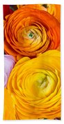 Colored Buttercup Flowers Beach Towel