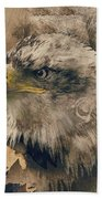 Colored Etching Of American Bald Eagle Beach Towel