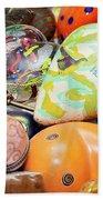 Colored Hearts Beach Towel