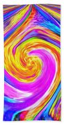Colored Lines And Curls Beach Towel