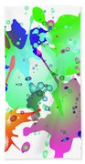 Colored Splashes On A Blue Background Beach Towel