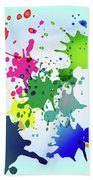 Colored Splashes On A Very Beautiful Blue Background Beach Towel