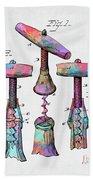 Colorful 1883 Wine Corckscrew Patent Beach Towel by Nikki Marie Smith