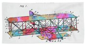 Colorful 1906 Wright Brothers Flying Machine Patent Beach Sheet