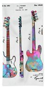 Colorful 1953 Fender Bass Guitar Patent Artwork Beach Towel by Nikki Marie Smith
