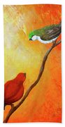 Colorful Bird Art Beach Towel