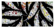 Colorful Black And White Leaves Beach Towel