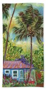 Colorful Blue Hawaiian Plantation House With Red Tin Roof And Sw Beach Towel