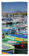 Colorful Boats Docked In Nice Marina, France Beach Towel