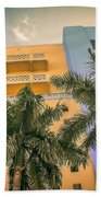 Colorful Building And Palm Trees Beach Towel