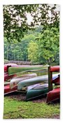 Colorful Canoes At Hungry Mother State Park Beach Towel