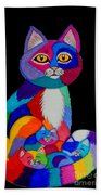 Colorful Cats And Kittens Beach Towel