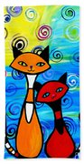 Colorful Cats Beach Towel