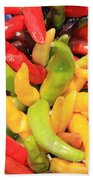 Colorful Chili Peppers  Beach Towel