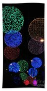 Colorful Christmas Lights Decoration Display In Madrid, Spain. Beach Towel