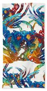 Colorful Crab Collage Art By Sharon Cummings Beach Towel