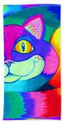 Colorful Crazy Cat Beach Towel