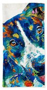Colorful Dog Art - Happy Go Lucky - By Sharon Cummings Beach Towel